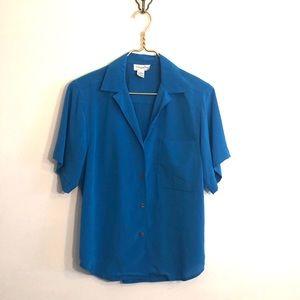 [Christian Dior] Blue Button Down Blouse - Size 8